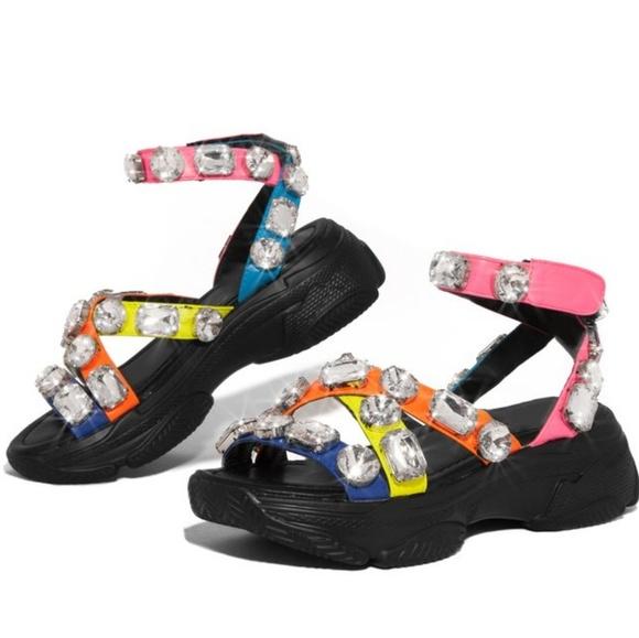 Sarah Siah Shoes - Last 6.5 & 7 💎Multi Embellished Diamond Platform
